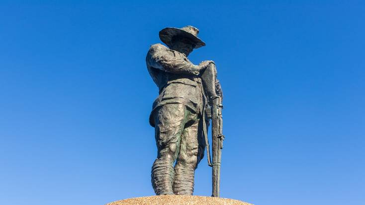 An Anzac memorial statue