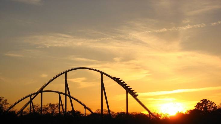 A theme park at sunset