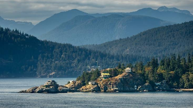 The stunning forested shoreline of Vancouver Island