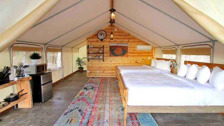 The interior of a safari tent rental in Zion National Park