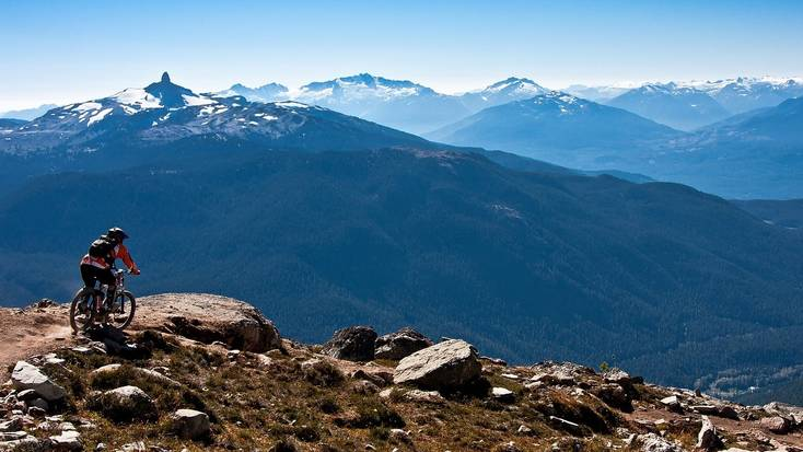 A biker in the mountains near Whistler, British Columbia
