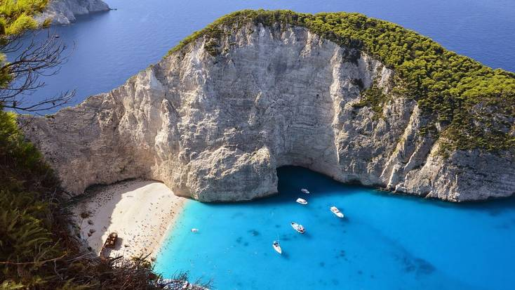 A view of a cove in Greece during vacations in Europe