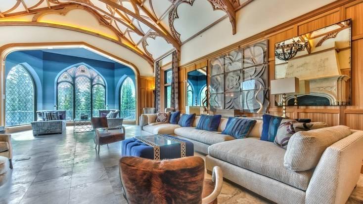 The stunning interior of a castle rental near Park City, Utah
