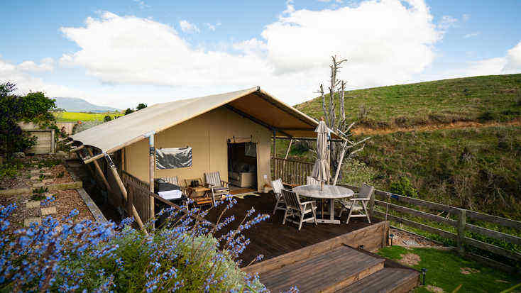 The safari tent Travis spent lockdown in surrounded by stunning countryside