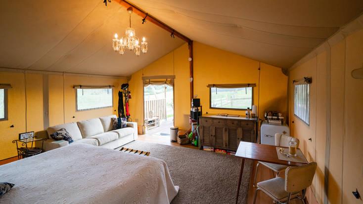 The interior of the safari tent