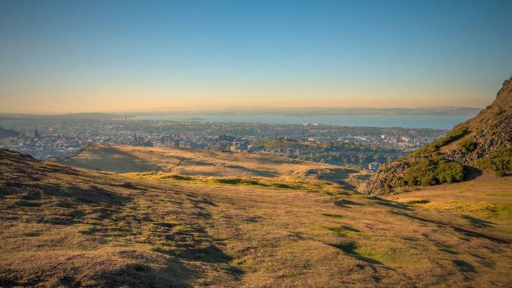 A view of Edinburgh and the coast from Arthur's Seat