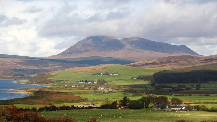 A view over the Isle of Arran's fields and hills