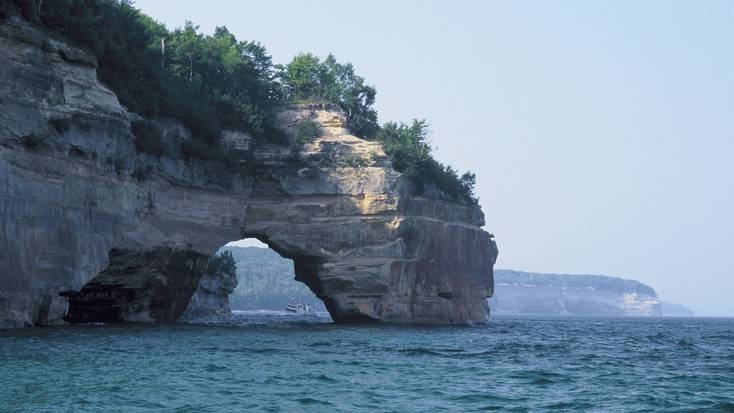 Stunning rock formations along the Pictured Rocks National Lakeshore