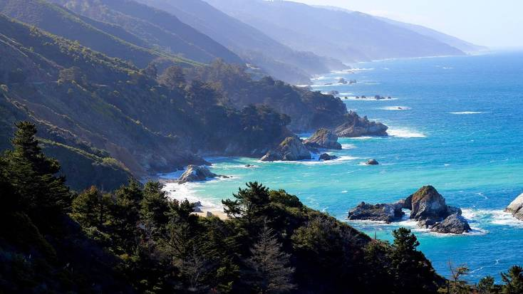 An aerial view over Big Sur