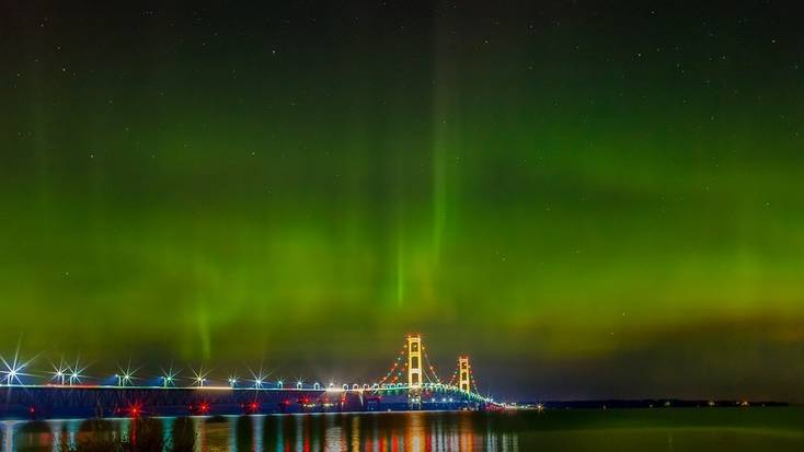 Northern Lights above the Mackinac Bridge, Michigan