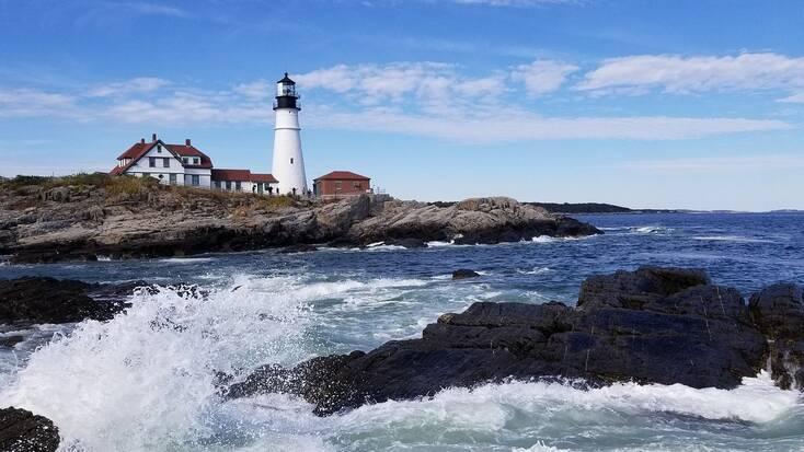 Coastline in Maine, New England