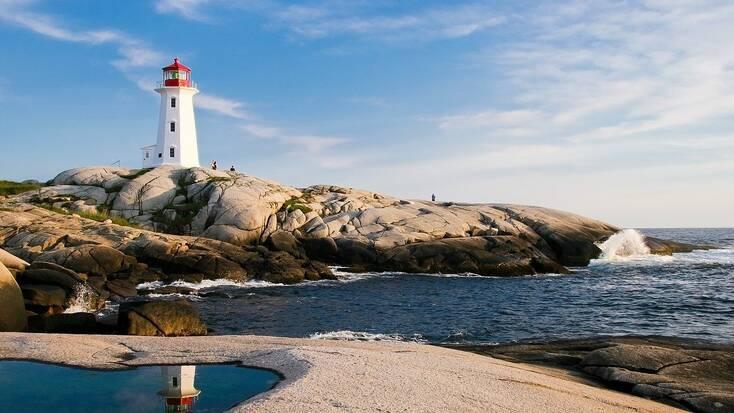A lighthouse on the coast of Nova Scotia