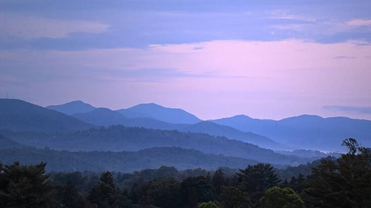 The North Carolina mountains at dusk