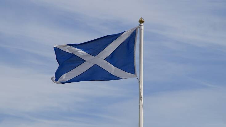 The Scottish flag, The Saltire, features the cross of St. Andrew