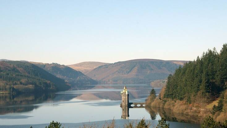 A castle in Wales on a lake