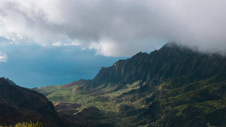 A view of the mountains and coast in Kauai, Hawaii
