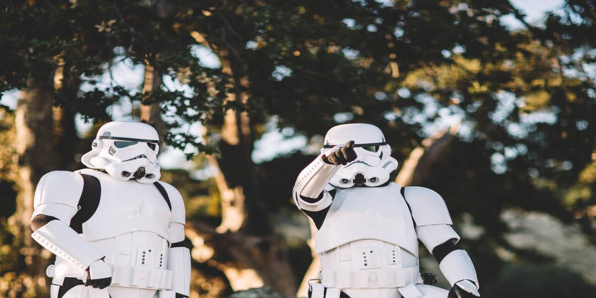 Stormtroopers in one of the Star Wars movie locations