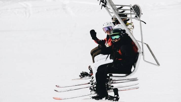skiing at a ski resort