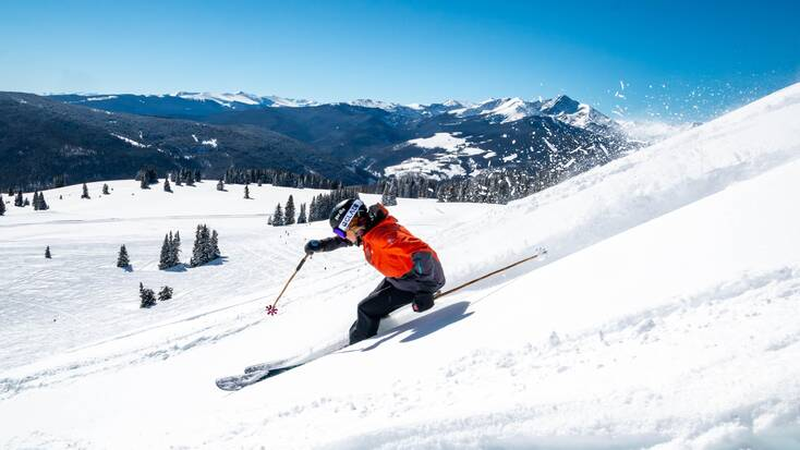 Someone skiing in Vail, Colorado