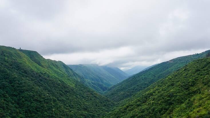 Rolling hills and rain clouds near Cherrapunji, India
