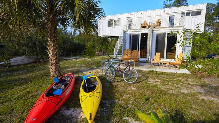 Upcycled containers for luxury Florida glamping rental