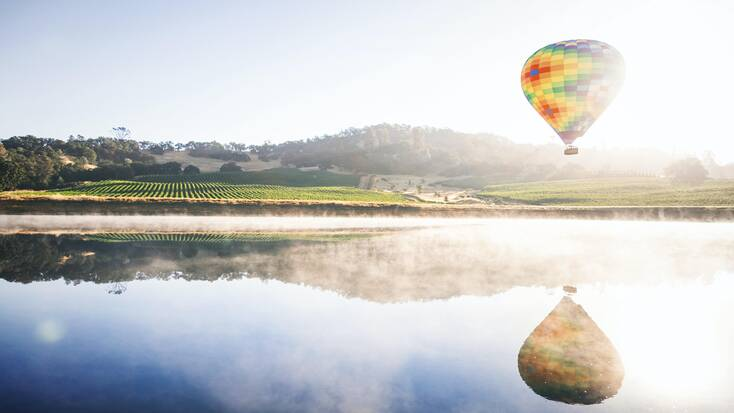 A hot air balloon flying over a vineyard in Napa Valley