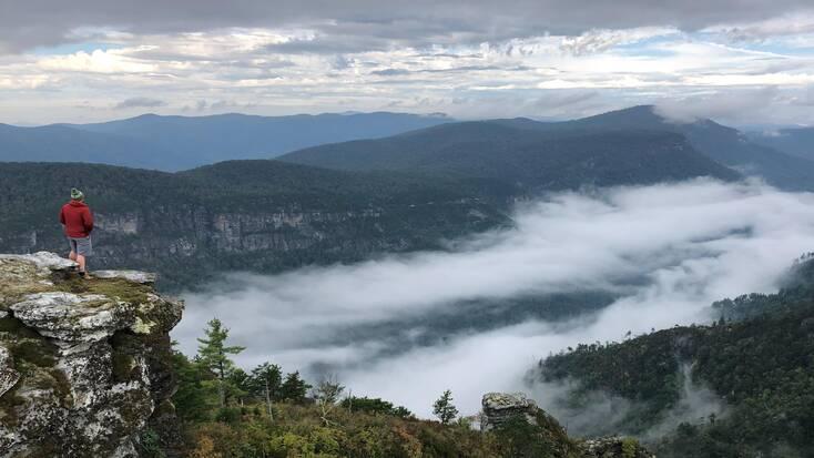 A tourist hiking near Asheville, North Carolina