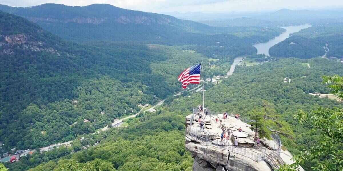 Tourists on a mountain vacation in the USA