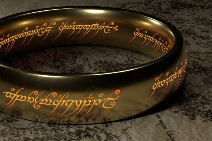 The One Ring to rule them all, One ring to find them; One ring to bring them all and in the darkness bind them on a map of Middle Earth