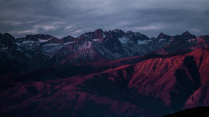 Sunset over mountains in the USA