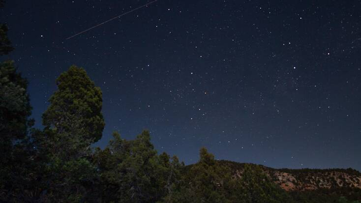 Starry night sky over the Dixie National Forest
