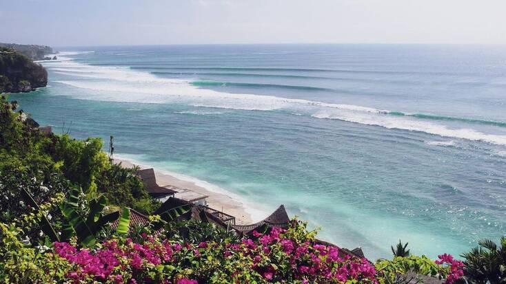 The view of the ocean from one of our beach rentals in Bali, one of the best places to go on vacation
