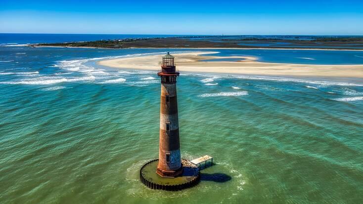 The Morris Island lighthouse in the harbor of Charleston, South Carolina