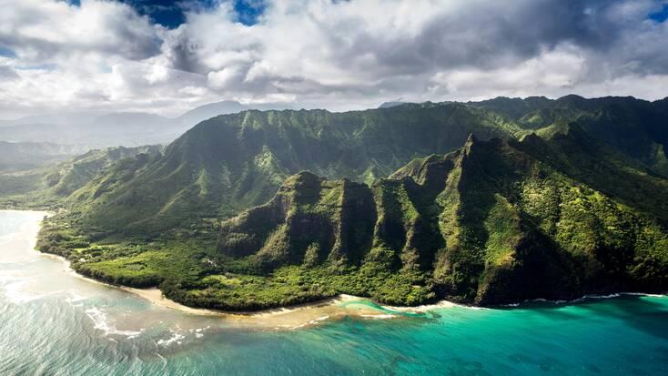 An aerial view over the coast of Kauai, Hawaii