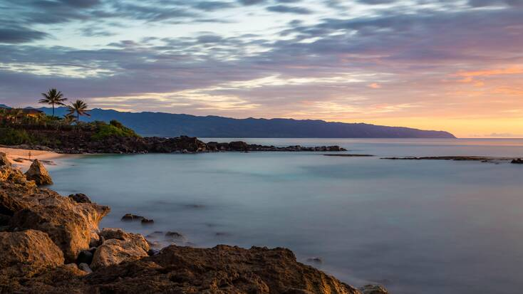 Sunset over one of the best beaches in Hawaii