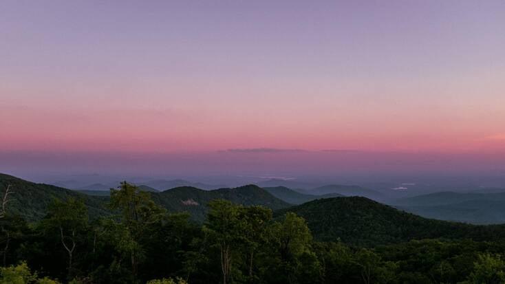 A stunning sunset over the Blue Ridge Mountains