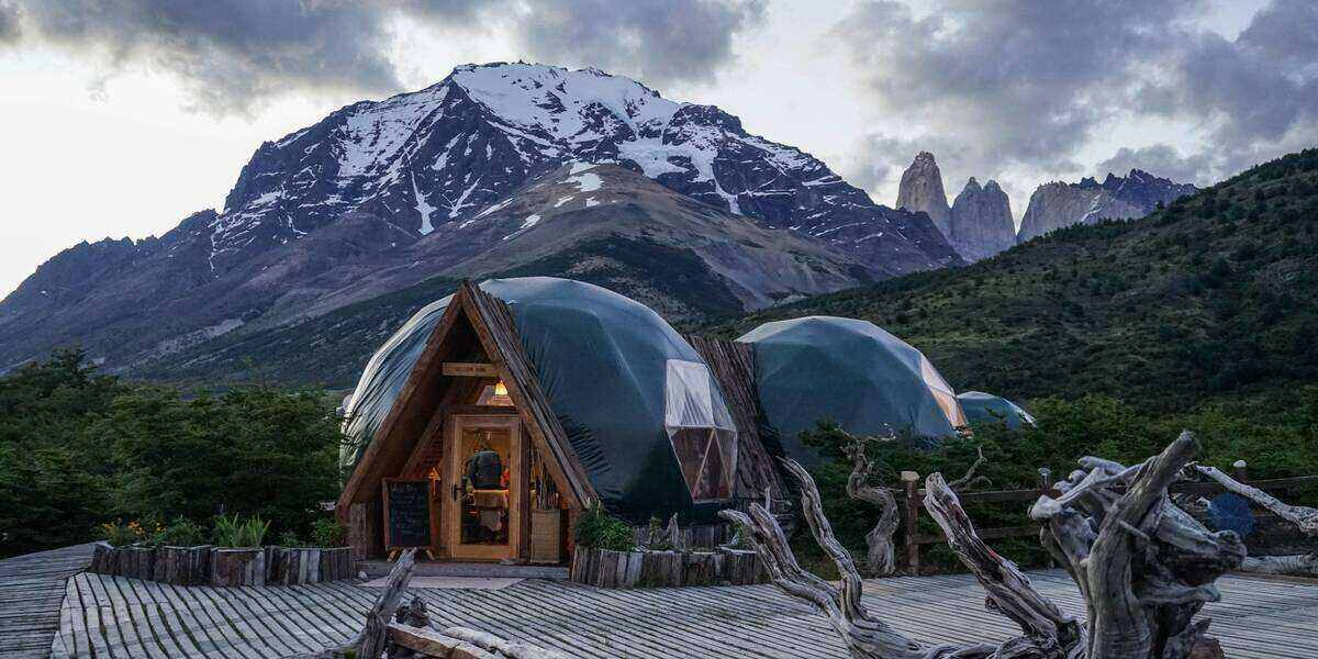 Glamping pods for a luxury camping vacation in the shadow of a mountain in Patagonia