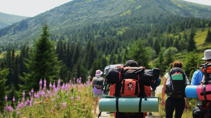 Hikers exploring the great outdoors with travel backpacks on