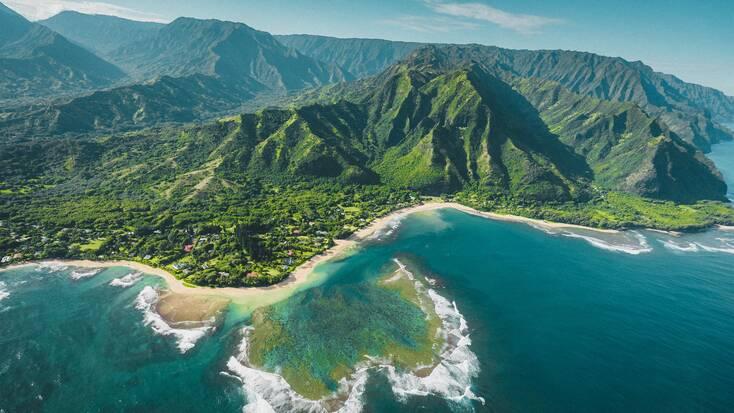 An aerial view of the Hawaiian islands