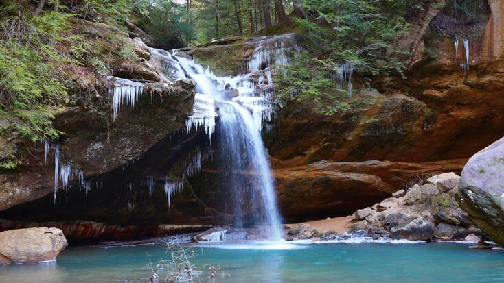 A waterfall in the woods of the Hocking Hills State Park