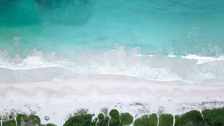 An aerial view over Kailua Beach Park