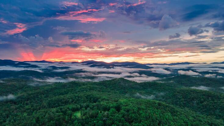 A view of a sunset over the Blue Ridge Mountains, Georgia