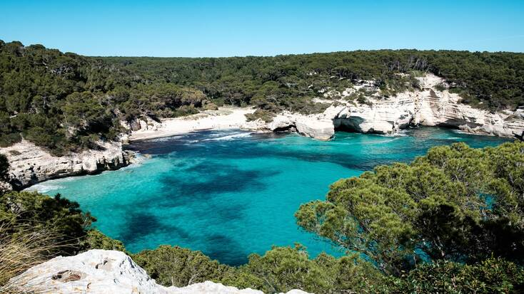 A view over a natural bay on Cala Mitjana, Menorca