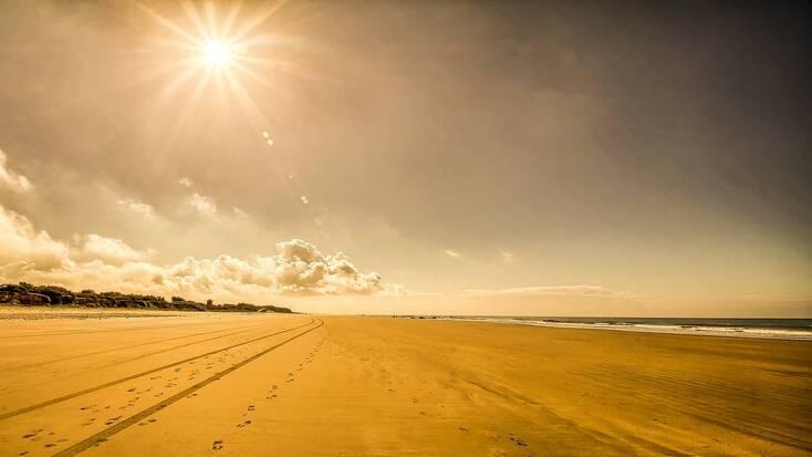 The large, spacious beach at Chipiona, Cadiz