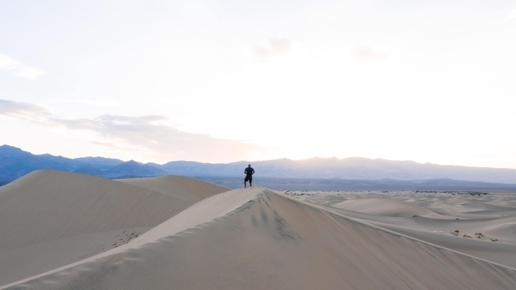 Someone exploring the Death Valley Desert, used as Tatooine in the Return of the Jedi