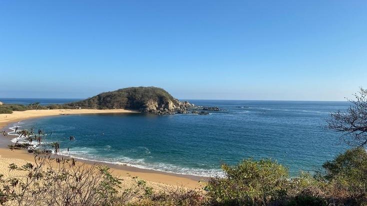 A view of a beach in Huatulco, Mexico
