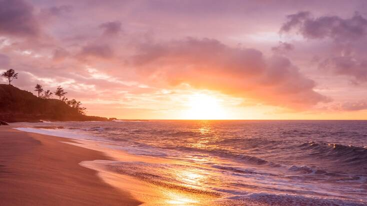 A stunning sunset over Kauai, Hawaii