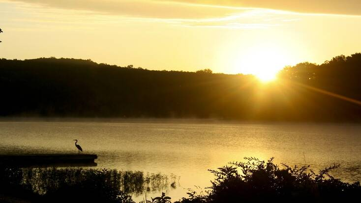 The sun setting over the Lake of the Ozarks