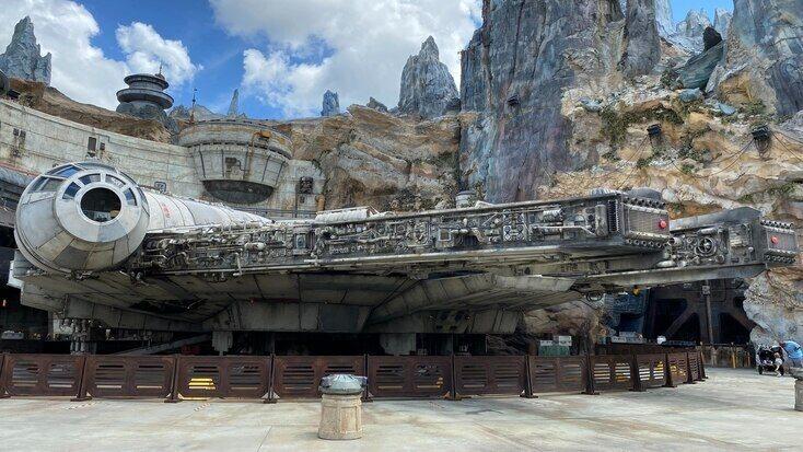 The Millennium Falcon in a theme park