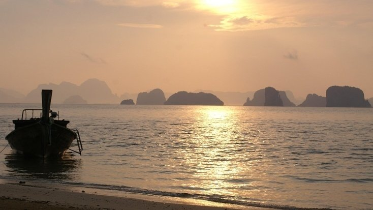 A beautiful sunset over Phang Nga Bay, Thailand, a great getaway spot for Star Wars Day